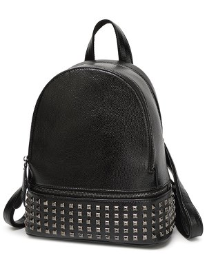 Rivet PU Leather Solid Color Backpack - Black