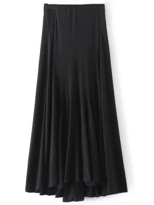 Irregular Hem High Waisted Skirt - Black
