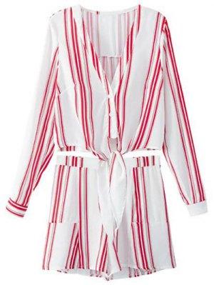 Recortada Camiseta Con Cuello En V Y Pantalones Cortos De Rayas Twinset - Rojo Con Blanco