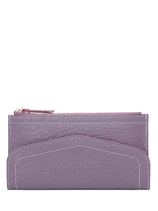 Stitching Zip Solid Color Wallet