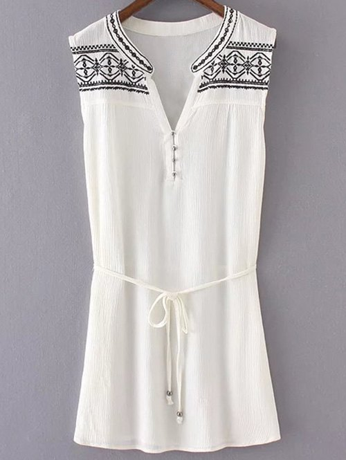 Embroidered Belted White Dress