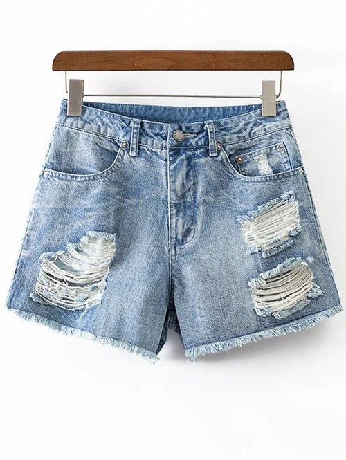 Rough Selvedge Ripped Denim Shorts