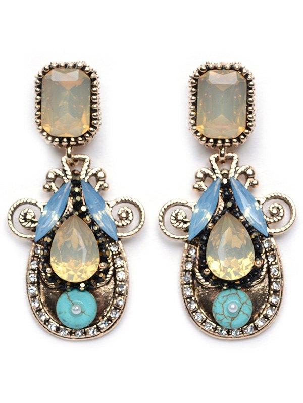 Rhinestone Faux Crystal Water Drop Earrings