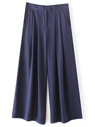 High Waisted Solid Color Culotte Pants