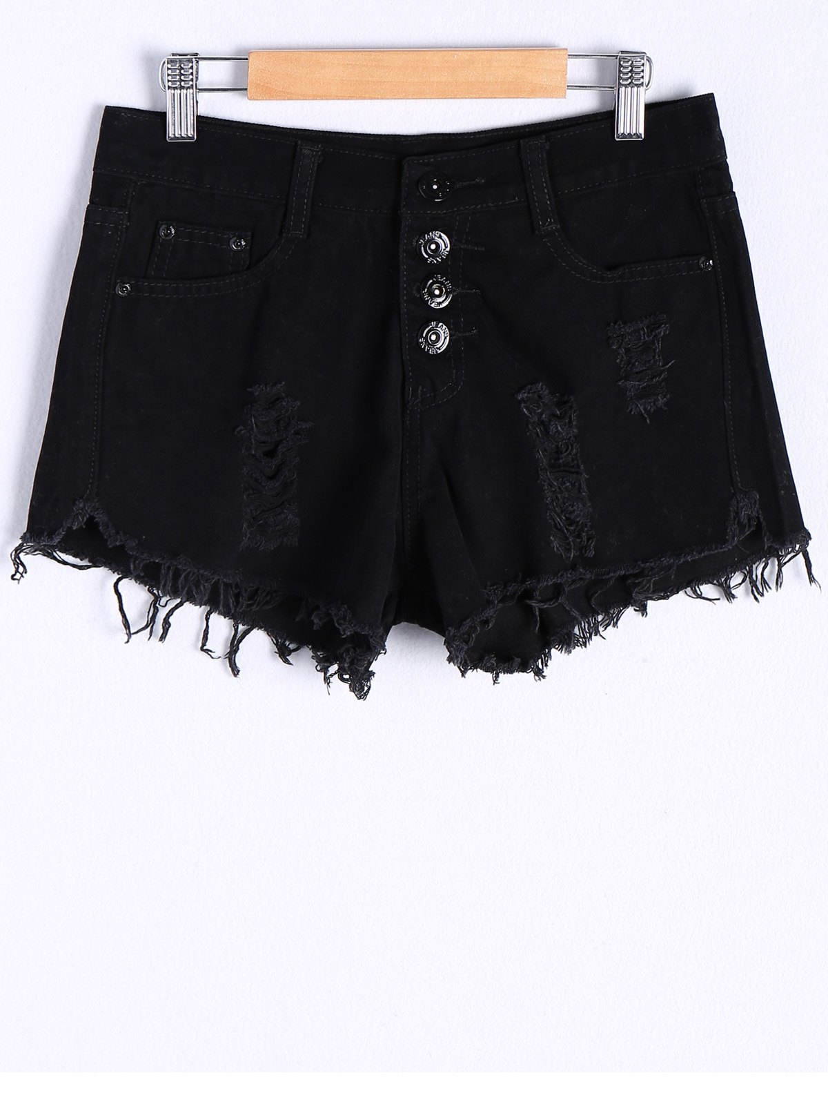 Ripped Button Fly Denim Shorts