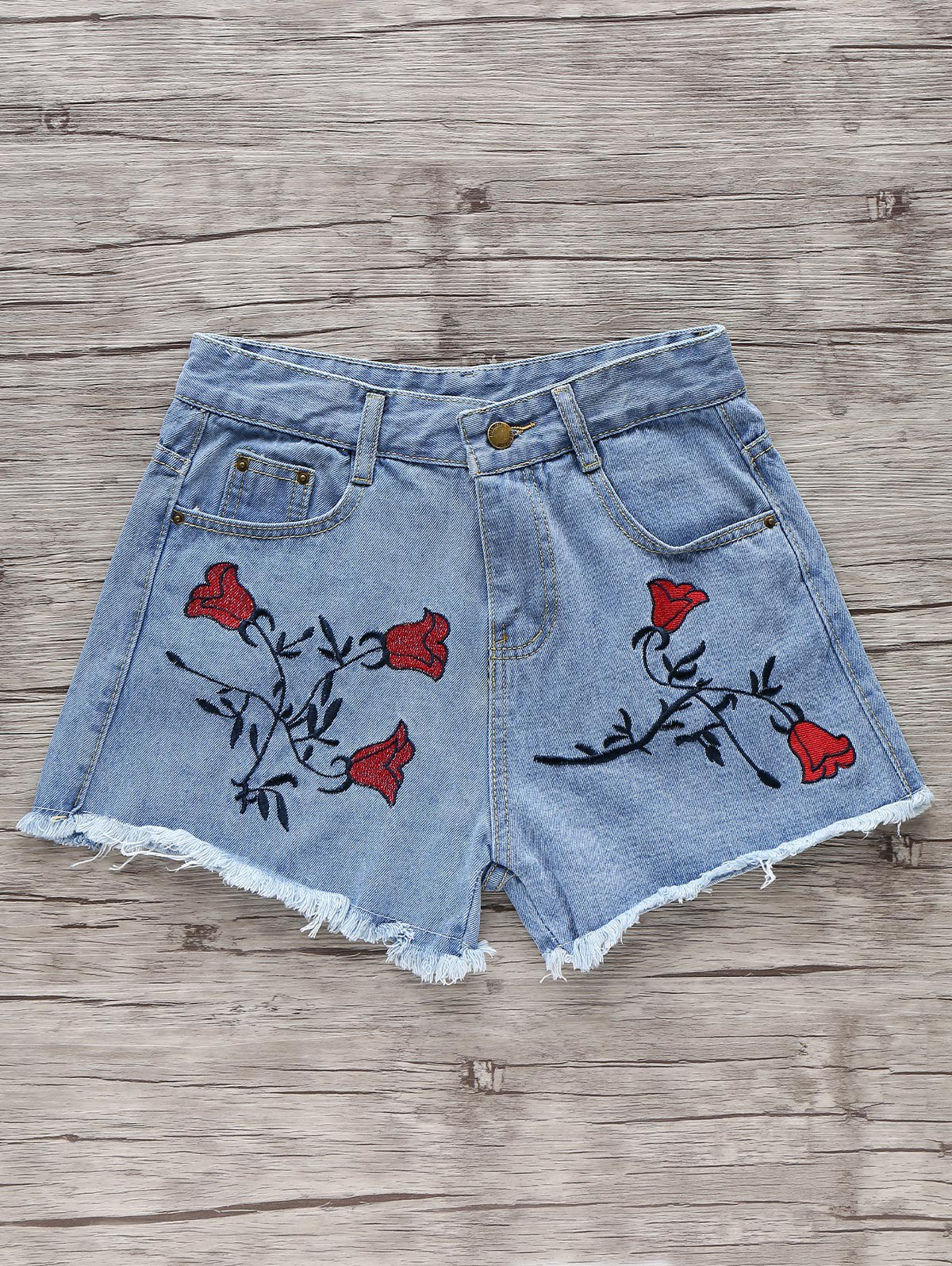 Flower Embroidery High Waisted Denim Shorts