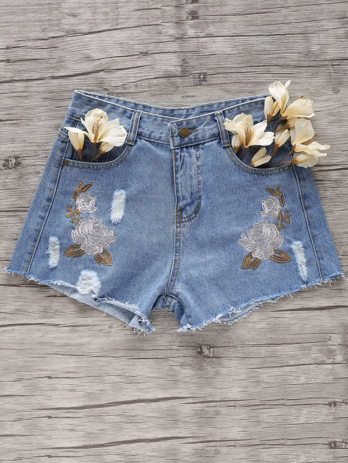 Broken Hole Flower Embroidery Denim Shorts