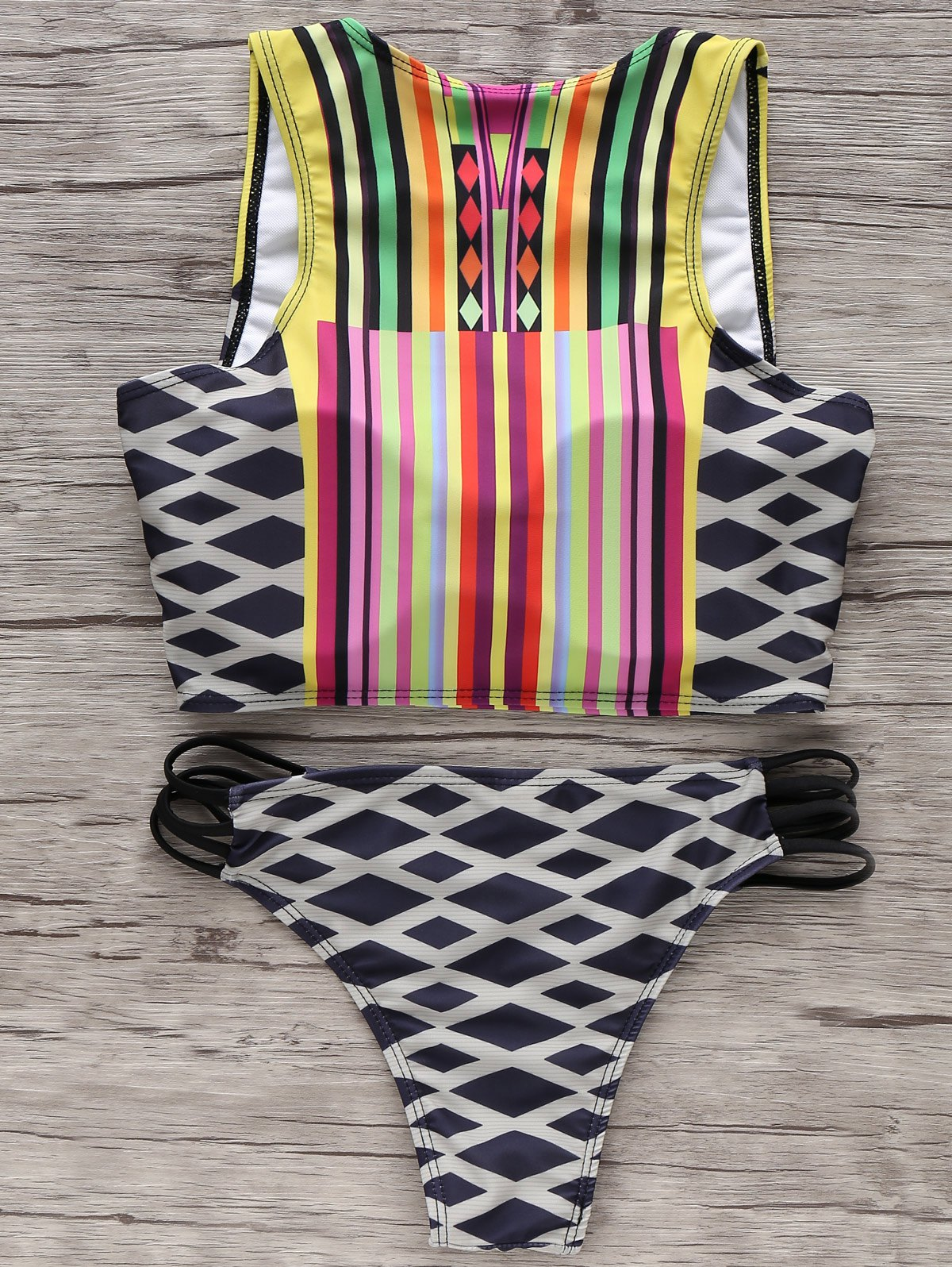 Round Neck Geometric Print Bikini Set