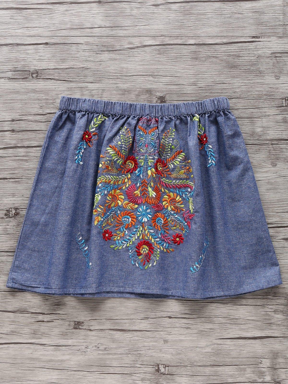 Elastic Waist Retro Embroidery Mini Skirt