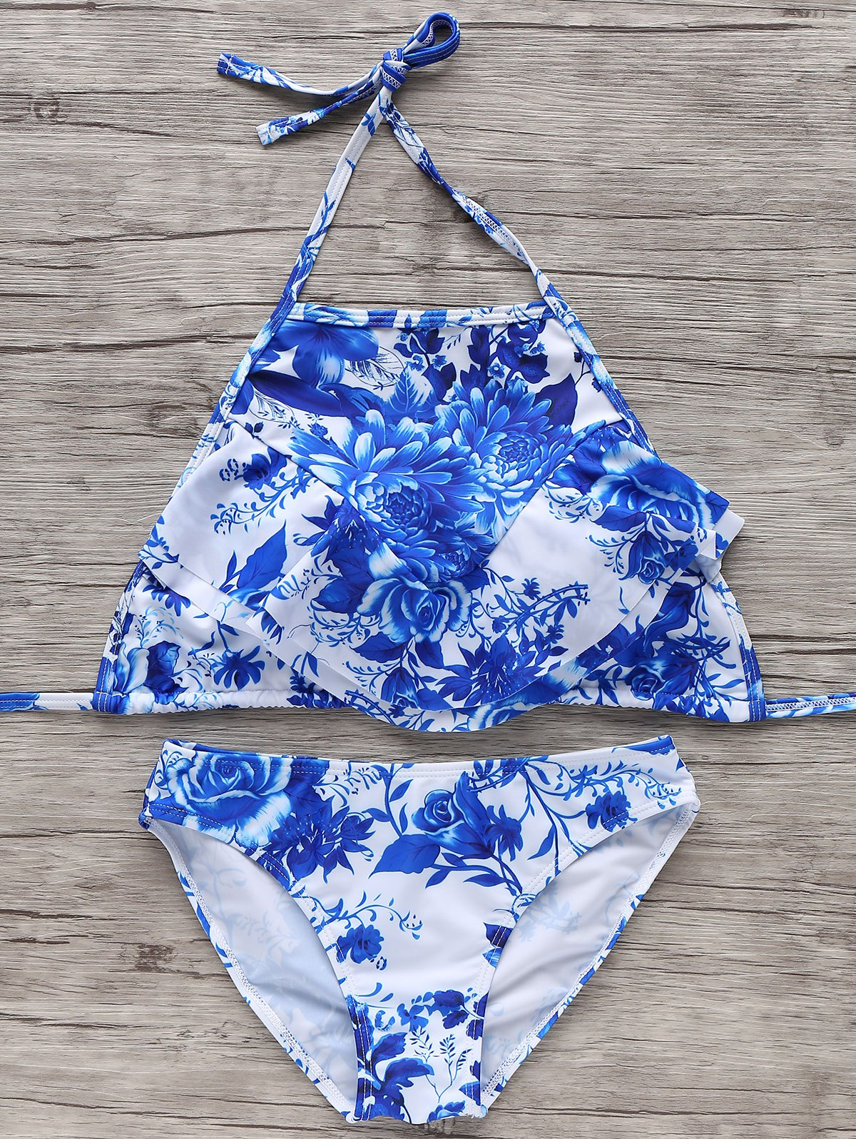 Halter Neck Blue and White Bikini Set