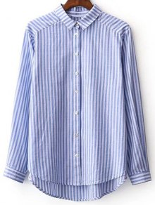 Striped Long Sleeve Boyfriend Shirt - Blue And White L