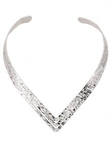 Embossed Heart Shape Torques - Silver