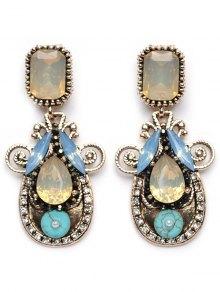 Rhinestone Faux Crystal Water Drop Earrings - Yellow