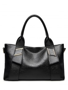 PU Leather Solid Colour Metallic Tote Bag
