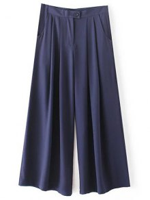 Solid Color High Waisted Culotte Pants - Cadetblue