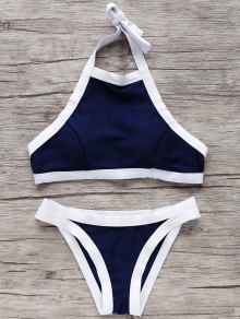 Halter High Neck Bikini Set - Blue