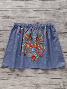 Retro Embroidery Elastic Waist Mini Skirt
