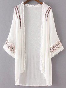 High Low Hem Embroidery Long Cardigan