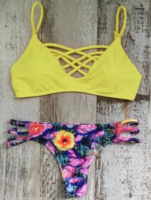 Cami floral amarillo Conjunto Bikini