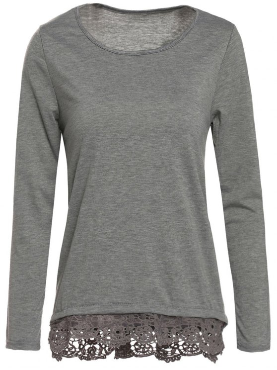 outfits Gray Lacework Scoop Neck Long Sleeve T-Shirt - GRAY S