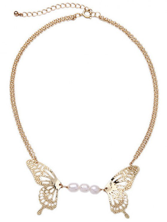 unique Faux Pearl Hollowed Butterfly Necklace - GOLDEN