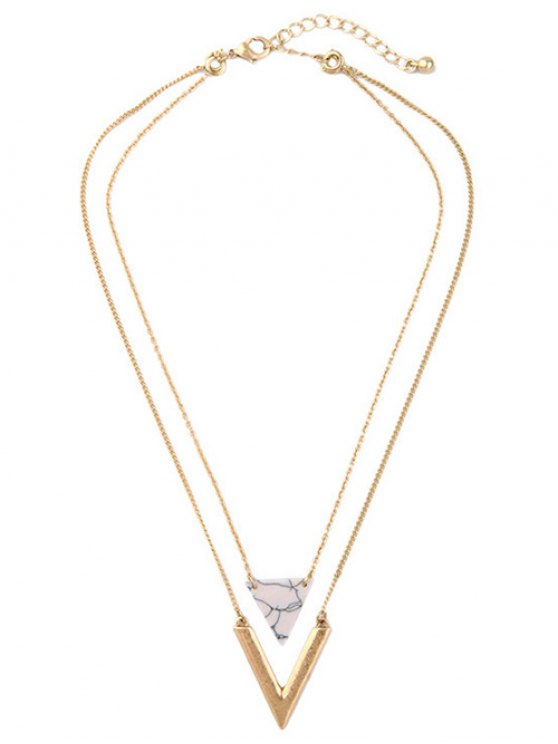 outfits Triangle Stone Layered Necklace - GOLDEN