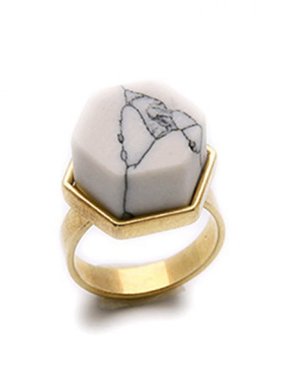 online Natural Stone Hexagon Ring - GOLDEN