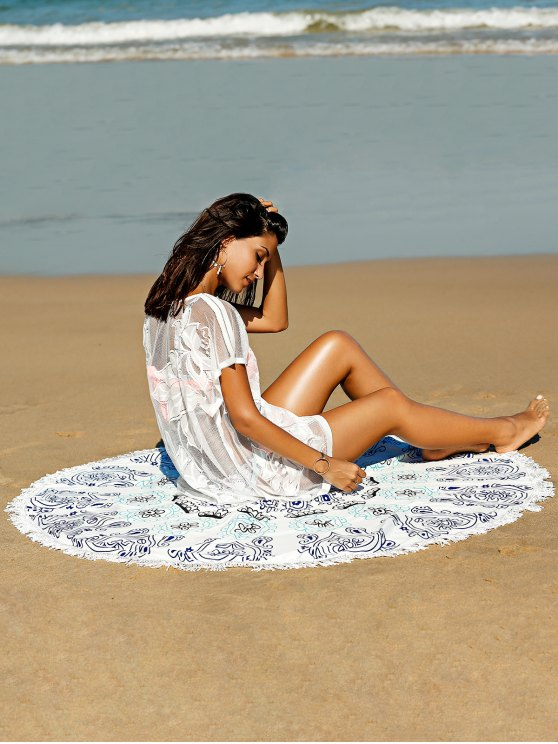 fancy Fashionable Printed Convertible Round Shape Cape Cover Up - BLUE ONE SIZE(FIT SIZE XS TO M)