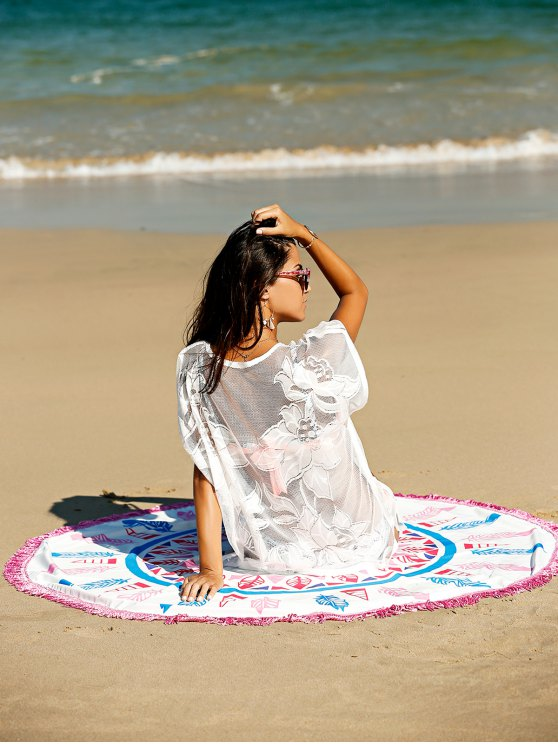 unique Fashion Feather Print Convertible Round Shape Cape Cover Up - COLORMIX ONE SIZE(FIT SIZE XS TO M)