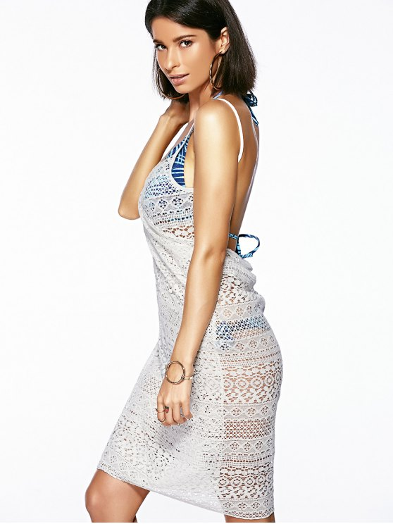 Guipure Backless Openwork Bathing Suit Cover-Ups - WHITE ONE SIZE(FIT SIZE XS TO M) Mobile