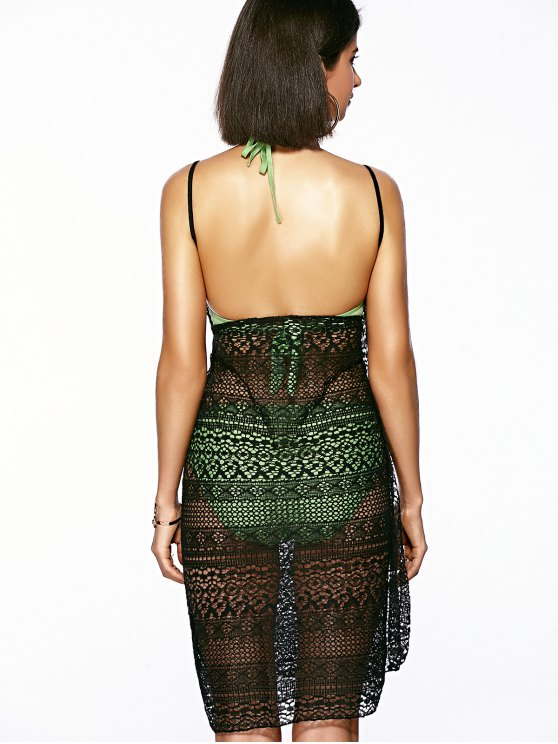 Guipure Backless Openwork Bathing Suit Cover-Ups - BLACK ONE SIZE(FIT SIZE XS TO M) Mobile