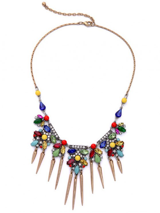 fancy Faux Crystal Rhinestone Fringed Necklace - COLORMIX
