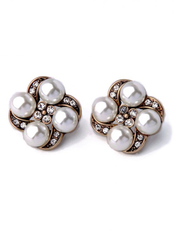 latest Rhinestone Faux Pearl Floral Earrings - WHITE