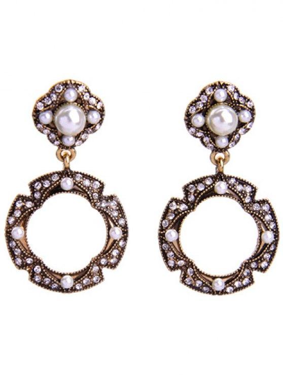 Pendientes de la perla del círculo del Rhinestone Faux - Dorado