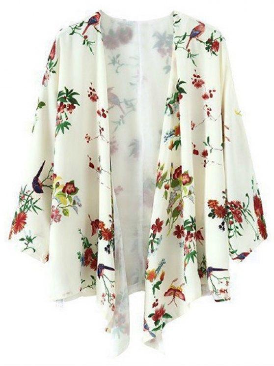 women's Printed Chiffon Kimono - BEIGE L