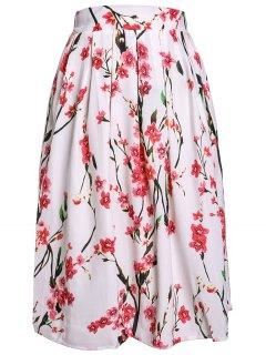 Peach Print Sweet Ball Gown Skirt - White S