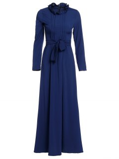 Solid Color Stand Neck Long Sleeve Maxi Dress - Purplish Blue M