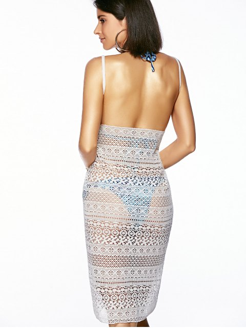hot Guipure Backless Openwork Bathing Suit Cover-Ups - WHITE ONE SIZE(FIT SIZE XS TO M) Mobile