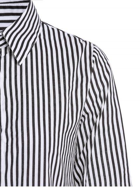 shops Stripe Turn Down Collar Long Sleeves Shirt - BLACK L Mobile