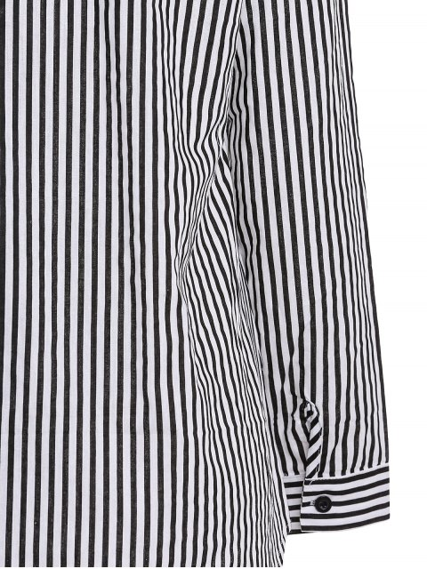 shop Stripe Turn Down Collar Long Sleeves Shirt - BLACK M Mobile
