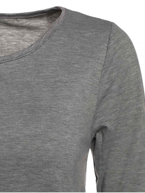 latest Gray Lacework Scoop Neck Long Sleeve T-Shirt - GRAY XL Mobile