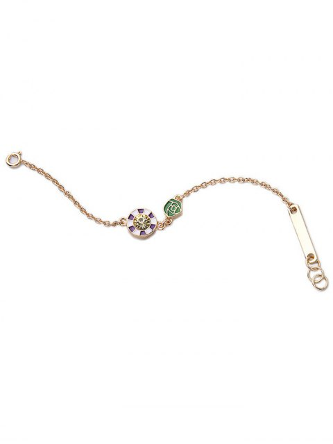 ladies Round Rhinestone Rose Bracelet - GOLDEN  Mobile