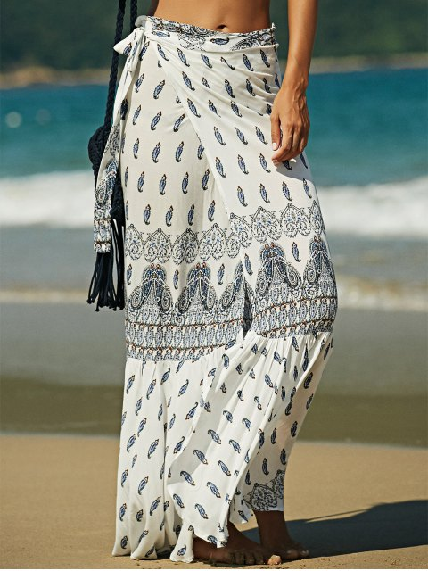 ladies Bohemian Print High Waist Skirt - WHITE XL Mobile