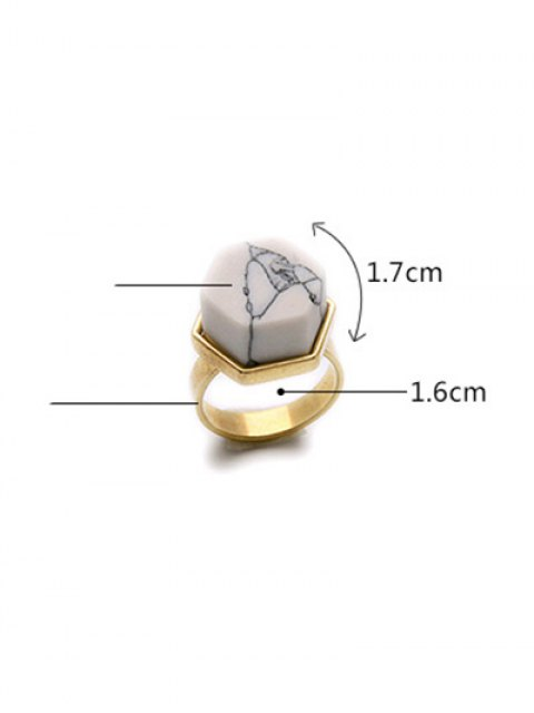 online Natural Stone Hexagon Ring - GOLDEN  Mobile
