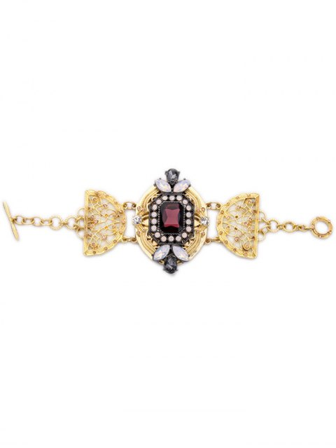 lady Faux Crystal Rhinestone Hollowed Bracelet - GOLDEN  Mobile