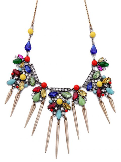 fancy Faux Crystal Rhinestone Fringed Necklace - COLORMIX  Mobile