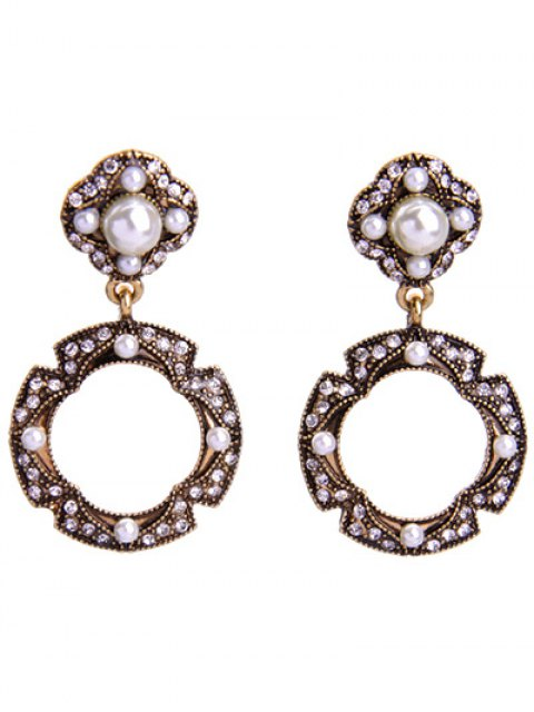 Boucles d'oreilles strass Faux Perle Cercle - Or  Mobile