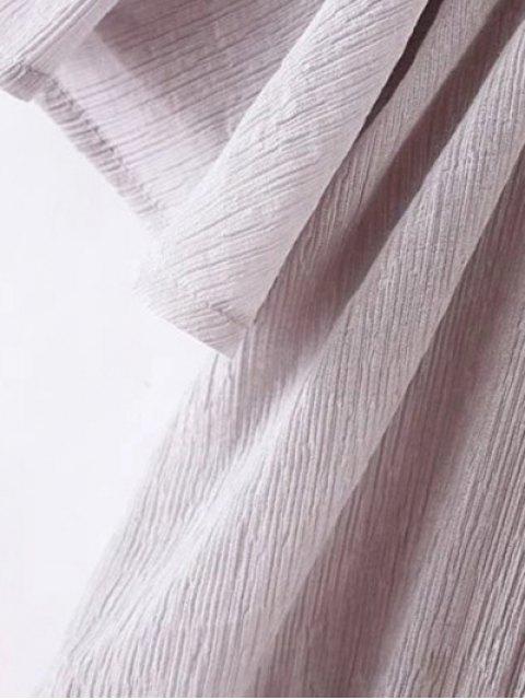 sale Cold Shoulder Elastic Hem Top - WHITE L Mobile