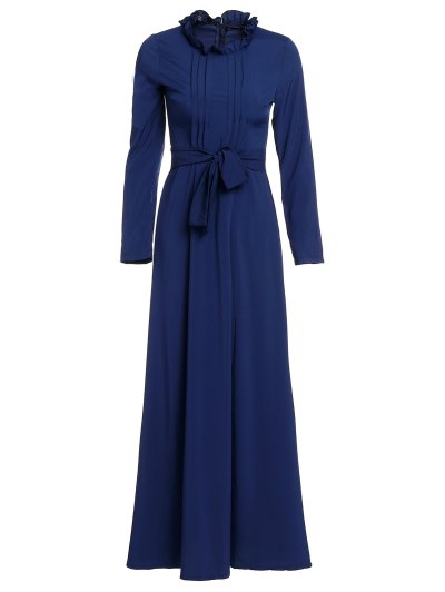 Solid Color Stand Neck Long Sleeve Maxi Dress - Purplish Blue