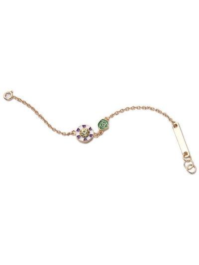 Round Rhinestone Rose Bracelet - GOLDEN  Mobile